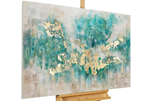 KunstLoft Acryl Gemälde 'Consciousness' 120x80cm | original handgemalte Leinwand Bilder XXL | Abstrakt Beige Blau Petrol Modern | Wandbild Acrylbild moderne Kunst einteilig mit Rahmen