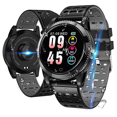 Smartwatch Smart Armband blutdruck uhr mit herzfrequenz wasserdicht Fitness Tracker aktivitätstracker gps bluetooth Sports Watch Schlafmonitor schrittzähler smart armband uhr für iOS Android Schwarz