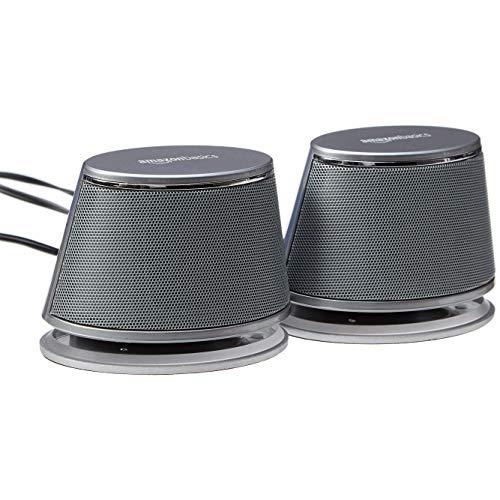 AmazonBasics - PC-Lautsprecher mit dynamischem Sound, USB-Betrieb, Silber, 1 Paar