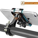 Fahrrad Handyhalterung 360° Drehbare Handyhalter Fahrrad für iPhone X/8/8 Plus Galaxy S9/S9 Plus/S8/S8 Plus und Alle 4.0-6,2 Zoll, Universal Aluminium Verstellbarer Motorrad Handyhalterung (Schwarz)