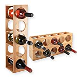 Torrex 30543 Weinregal stapelbar aus Bambus-Holz für 5 Wein-Flaschen zum Stellen, Legen oder zur Wand-Montage, erweiterbar, Größe 13,5x12x53 cm (LxBxH) Weinflaschenhalter Weinkiste Flaschenregal