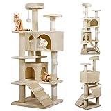 Yahee Katzenkratzbaum Katzenbaum Spielbaum mit Seil und Diversen Plattformen 130 cm Hoch