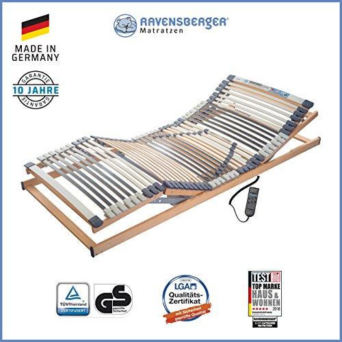 Ravensberger Matratzen Medimed Lattenrost | 7-Zonen-Buche-Lattenrahmen | 44 Leisten| elektrisch| MADE IN GERMANY - 10 JAHRE GARANTIE | 90x200 cm