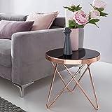 Design Couchtisch ROUND MINI ø 42 cm Rund Glas Kupfer | Lounge Beistelltisch verspiegelt | Moderner Wohnzimmertisch | Glastisch Sofatisch Tisch für Wohnzimmer