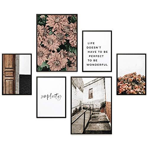 Heimlich Premium Poster Set | Stilvoller Mix an passenden Bildern für Dein Zuhause | ohne Rahmen » FLORAL Simplicity «