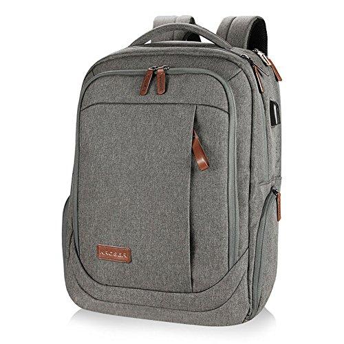 KROSER Laptop Rucksack Computer Rucksack 17 inch Tagesrucksack Wasserabweisende Laptoptasche mit USB Ladeanschluss für Business/Schule/Reisen/Frauen/Männer-Grau