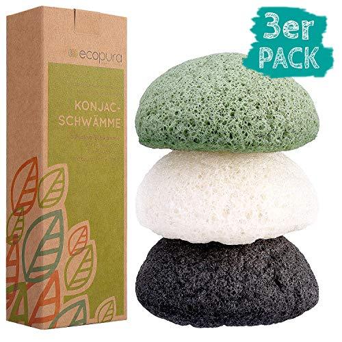 ecopura Konjac Schwamm Set (3 Stück), Gesichtsschwamm, Gesichtsreiniger für unreine und fettige Haut, Biologisch Abbaubar, 100% Natürlich und Vegan, Zero Waste, Plastikfrei
