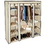 TecTake Kleiderschrank Stoffschrank Garderobe Faltschrank mit Kleiderstange & 12 Fächern | 150 x 175 x 45 cm | -diverse Farben- (Beige | Nr. 402527)