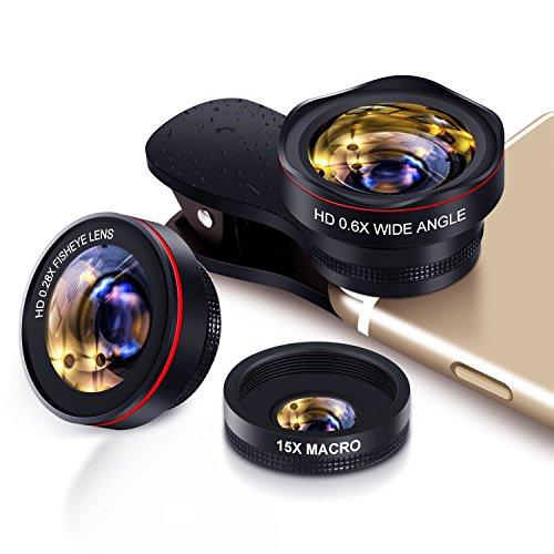 Handy Objektiv Set fisheye Lens - 3in1 Clip On Fischauge Kamera Adapter (0.28 X fisheye,0.6X 130° Weitwinkelobjektiv, 15X Makroobjektiv) for IOS & Android Smartphones