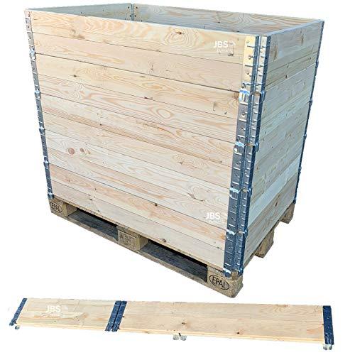 JBS basics ] Hochbeet Stecksystem Palettenrahmen Aufsatzrahmen [ 120 x 80 x 19,5 cm ] Stapelrahmen mit Metallbeschlägen [ Hochbeet Frühbeet Kompost Gartenbeet ]