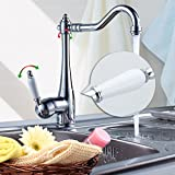 Elegant Armatur Einhebel Wasserhahn mit weißem Griff Waschtischarmatur Waschbecken Spültischarmatur Retro-chic