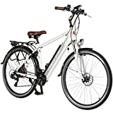 AsVIVA E-Bike Trekkingrad - 28' CityBike B15-H 36V 14,5Ah Samsung Zellen Akku | 21 Gang Shimano Schaltung, 250W Heckmotor, Scheibenbremsen, Felgenschloss, Elektrofahrrad Pedelec, weiß/grau Unisex