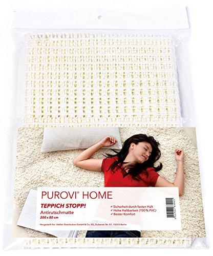 Purovi Antirutschmatte | Teppichunterlage 200 x 80 cm | Teppichstopper | Zuschneidbar | Rutschschutz für Teppiche