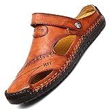 tqgold Flip Flops Herren Sandalen Sommer Leder Strandschuhe Hausschuhe Slipper Clogs Zehentrenner aus Rindsleder(Rot Braun,Größe 44)