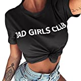 Damen Casual T-Shirt Top mit Letter Druck ' Bad Girls Club' Rundhalsshirts Kurzarm Ladies Sommer Shirt Damenmode Leicht und Luftig Club Party Oberteil Tops Bluse Strand Shirt (Dark Gray, L)