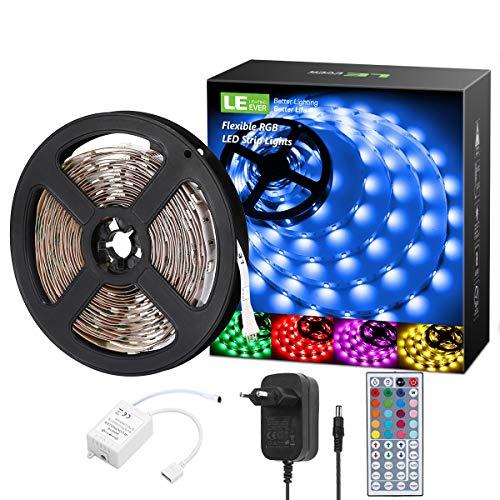LE 5M RGB LED Strip Set, 5050 SMD LED Streifen, 12V, Selbstklebend LED Strips, Flexibel LED Band, LED Leiste, LED Lichtband, Netzteil und Controller enthalten