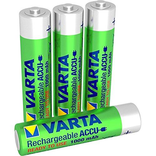 Varta Rechargeable Accu Ready To Use vorgeladener AAA Micro NiMh Akku (4er Pack, 1000 mAh, wiederaufladbar ohne Memory-Effekt - sofort einsatzbereit)