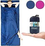 MIQIO 2in1 Hüttenschlafsack mit durchgängigem Reißverschluss (Links Oder Rechts): Leichter Komfort Reiseschlafsack und XL Reisedecke in Einem - Sommer Schlafsack Innenschlafsack Inlett Inlay