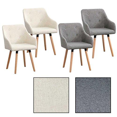 2/4/6/8x Vintage - Esszimmerstuhl Ilmar, Stühle, Vintage, Esszimmerstühle, Stoffbezug, Stuhl (4 Stück, Grau)