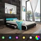 cangzhoushopping Kunstlederbett mit 2 Schubladen LED-Leiste am Kopfteil 140 cm Schwarz Möbel Betten Zubehör Betten Bettgestelle