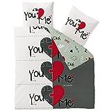 CelinaTex Fashion Bettwäsche 200 x 220 cm 3teilig Baumwolle Du & Ich Herz Weiß Grau Rot