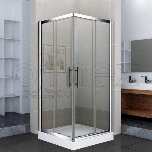 OimexGmbH Eckdusche 90 x 90 x 195 CM LR203 Dusche Duschkabine inkl.Duschtasse Duschabtrennung Dusche Duschwand