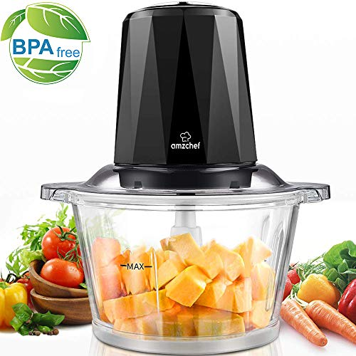 Amzchef Zerkleinerer Elektrisch mit Niedrig und Hohe Geschwindigkeit, Bremsfunktion, 1,8L BPA Frei Glasbehälter für Fleisch, Gemüse, Obst und Nüsse, 4 Edelstahl-Messer, 300W Multi-zerkleinerer