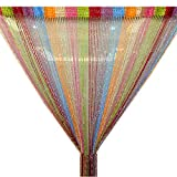 Trixes Mehrfarbig Fadenvorhang im Tautropfen Design als Raumteiler Fliegenschutz oder als Festliche saisonale Dekoration 90cm x 200cm - Vorhänge (Rainbow)