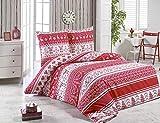 Buymax Bettwäsche-Set 3 Teilig, Renforce-Baumwolle, Reißverschluss, 200x200 cm, Rot, Weihnachten