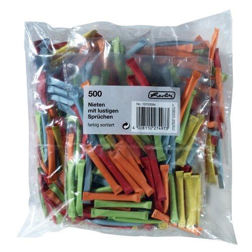 Herlitz 10733384 Nieten 500 Stück farbig sortiert, bedruckt mit lustigen Sprüchen