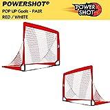 POWERSHOT Fußballtor POP UP - 2 Größen zur Auswahl - 2er Set - faltbares Garten Fußballtor für Kinder in ROT/WEIß (180 x 120cm)