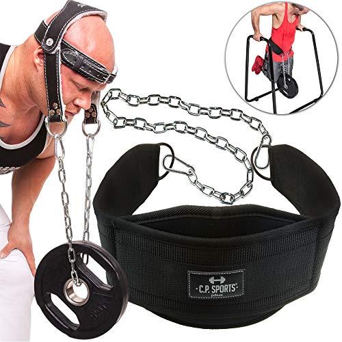 C.P.Sports Set Dip-Gürtel Dipgürtel + Nackentrainer Leder Dipping Belt, Klimmzug Gürtel, Neck Builder, Nackentrainer mit Stabiler Kette, Bodybuilding, Krafttraining