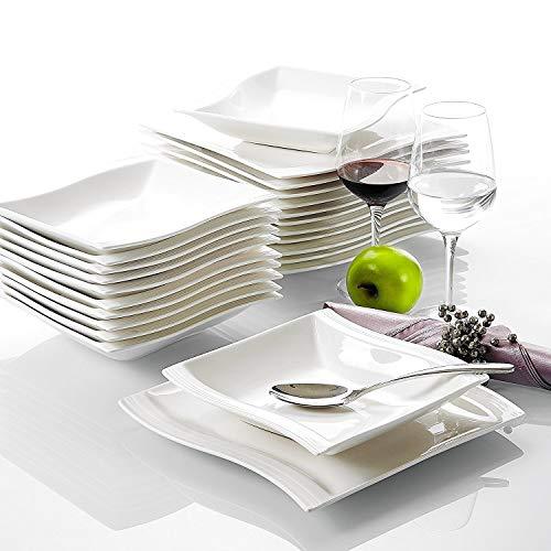 Malacasa, Serie Flora, Cremeweiß Porzellan Tafelservice 24 Teiligen Set Kombiservice Geschirrset mit je 12 Speiseteller und 12 Suppenteller für 12 Personen