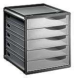 Rotho 1106500096 Schubladenbox Bürobox Spacebox aus Kunststoff (PS), 5 geschlossene transparente Schübe, A4-Format, circa' 33 x 28.5 x 32 cm, Anthrazit/Transparent Bürobox, Plastik