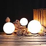 Kugelleuchten 3er SET, Gartenbeleuchtung 25 cm, 30 cm & 40 cm Ø, Außenleuchten, weiße Gartenlampen, Innen & Außen, Gartenkugeln für Energiesparlampen E27 & LED - 230 V & 23W, Kugellampen mit IP44