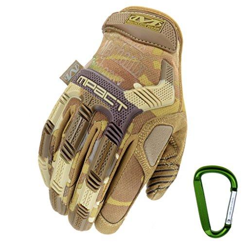 MECHANIX WEAR M-PACT Tactical Einsatz-Handschuh, optimaler Schutz, atmungsaktiv beste Passform + Gear Karabiner, Schwarz Covert, Coyote, Multicam, Wolf Grey, Größe: S,M,L,XL (XL, Multicam)