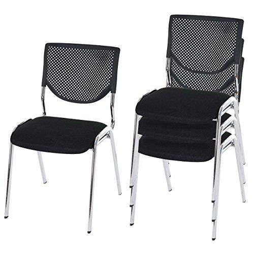 4x Besucherstuhl T401, Konferenzstuhl stapelbar, Textil ~ Sitz schwarz, Füße chrom