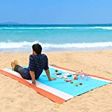 WolfWise 270x210 cm XXL Stranddecke, Waschbare Picknickdecke Campingdecke aus Weiches Nylon Wasserdicht Sandfrei Schnell Trocknend mit 4 Pfähle Tragbar