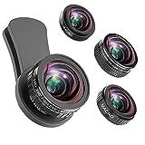 Phone Kamera Objektiv, 235 ° Fisheye Objektiv + 15 x Makro-Objektiv, 0,4 X Weitwinkel-Objektiv + 12 x Macro Objektiv, Smartphones Kamera Kit kompatibel für iPhone X/ 8/7/6/6S Plus, Samsung