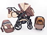 Kinderwagen Babywagen Kombikinderwagen TriBeCe Cloud 3 in 1 Komplettset mit Zubehör 0-3 Jahre 0-15 kg Insektenschutz Netz Regenschutz Getränkehalter Buggy Autositz (Mehrfarbig)