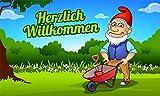 Fanshop Lünen Fahne - Flagge - Herzlich Willkommen - (Gartenzwerg) - Garten - Zwerg - Blumen - 90x150 cm - Hissfahne mit Ösen -