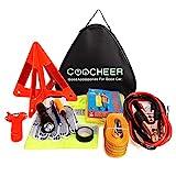 Auto Emergency Kit, Multifunktionale Pannenhilfe Auto Notfall-Kit mit Starthilfekabel, Werkzeugtasche und Pannenwerkzeug, Sicherheitsweste, Abschleppseil, Taschenlampe, Reifendruckmessgeräte