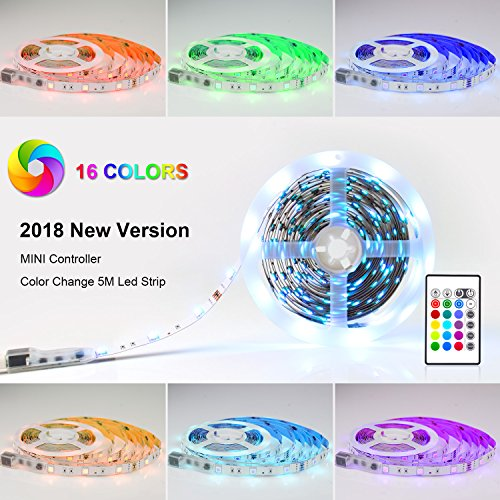 Pangton Villa LED Strip RGB 5m LED Licht Streifen SMD 5050 Leds mit Netzteil, Fernbedienung Led stripes Lichtband Leiste Band Beleuchtung