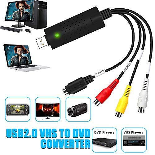 DIWUER USB 2.0 Audio Video Konverter, Video Grabber Neue Software Windows 10 fähig VHS VHS DVD Videoadapter zur Bearbeitung-Nachbearbeitung