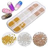 Mini kleine Edelstahl Perlen Nails Art Rose Gold Silber Kaviar DIY Nagelperlen Dekorationen Nieten 3D Nail Art Studs