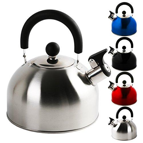 KROLLMANN 2,5 Liter Edelstahl Flötenkessel in verschiedenen Farben Teekessel Wasserkocher Pfeifkessel (Silber)