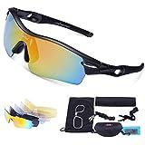Carfia TR90 Damen Heren Radbrille Outdoor Sportbrille Polarisiert Sport Sonnenbrille mit 5 Wechselbare Linsen für Radfahren Laufen Reisen - 100% UV400 Schutz
