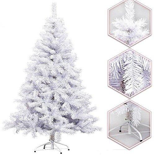 Hengda 180CM Künstlicher Modischer WEIß Weihnachtsbaum Tannenbaum Kunstbaum Kusttanne mit Metallfuß