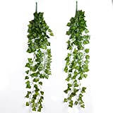2 Stück 90cm künstlicher hängender Efeu Rebe Pflanzenblätter für die Dekoration von Hochzeit Garten Wand Hause (Kletterpflanze)