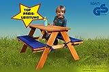 Stabile Kinder-Sitzgruppe für 4 inkl.Polsterauflagen lasiert